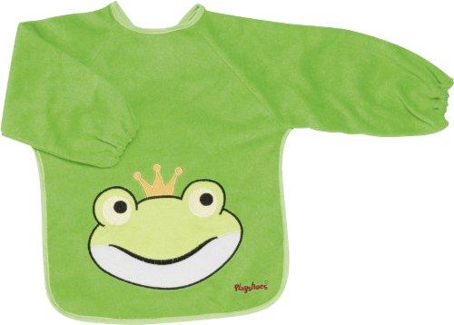 Playshoes 507136 - Ärmel-Lätzchen lang Arm, Froschkönig, grün, Einheitsgröße