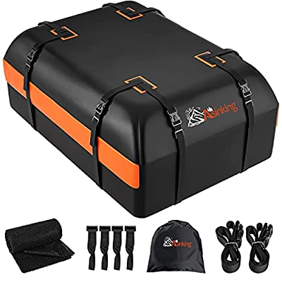 Asinking Car Rooftop Cargo Carrier Bag, 21 Cubic Feet 100% Waterproof Heavy Duty 840D Car Roof Bag for All Vehicle with/Without Racks - Storage Bag, Anti-Slip Mat, 2 Extra Straps, 4 Door Hooks