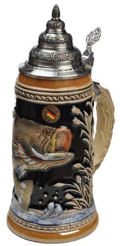 Beer Steins by King - Large Mouth Bass Fishing German Beer Stein (Beer Mug) 0.75