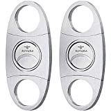 roygra Cigar Cutter 2 Pack, Stainless Steel, Double Blade Guillotine for Most Size of Cigars