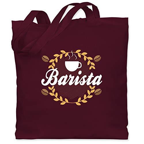 Shirtracer Küche - Barista - Unisize - Bordeauxrot - WM101 - Stoffbeutel aus Baumwolle Jutebeutel lange Henkel
