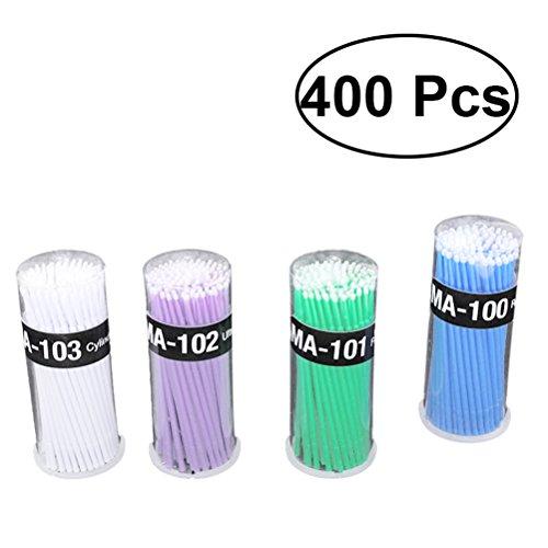 Frcolor 400pcs brosses micro-applicateur durable pour le maquillage et les soins personnels (bleu + vert + violet + blanc)