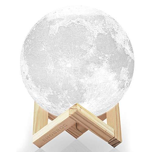 Moon Light, Ehobroc 5.9 Inch 3D Printing Moon Lamp, Glowing Moon Globe Light 3D Moon Lamp Tap Change 3 Colors, Decor Moon Night Light for Bedroom Bedside Children Gifts
