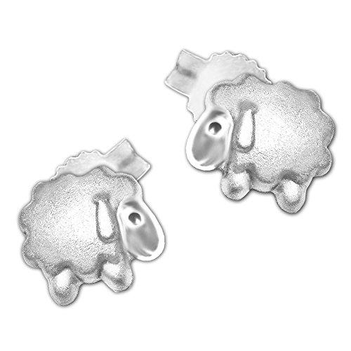 Clever Schmuck Pendientes plateados para niñas con diseño de oveja, 5 mm, sencillos, parcialmente mate y brillante, plata de ley 925