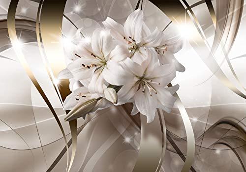 decomonkey | Fototapete Blumen Lilien 400x280 cm XL | Tapete | Wandbild | Wandbild | Bild | Fototapeten | Tapeten | Wandtapete | Wanddeko | Wandtapete | Abstrakt 3d Effekt beige