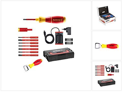 Wiha speedE® elektronischer Schraubendreher - Set 2 13-teilig mit 2x 1,5 Ah Akku mit Ladegerät, Bits, TorqueAdapter (41912) und Wiha Flaschenöffner (9872)