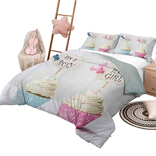 Daybed Quilt Set Gender Reveal Luxe Bedding 3 Piece Quilted Bedspread Coverlet Set Boy and Girl with Cupcakes Yummy Chocolate Celebration Theme Queen Size Pale Blue and Pink Cream