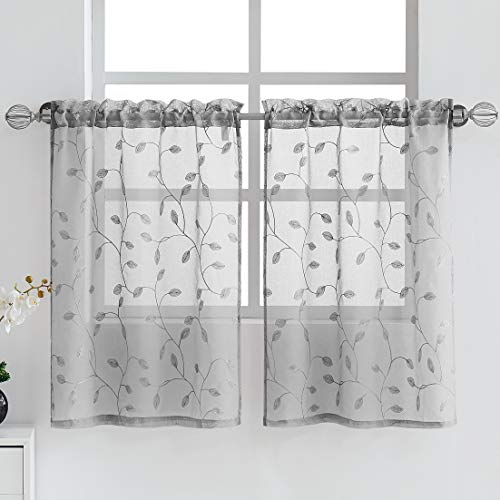 Fragrantex Botanical Grey Tiers Curtains for Kitchen/Cafe Linen Sheer 36 inches Long Floral Embroidery Leaf Window Draperies for Dining Room,Rod Pocket 2 Panels,28