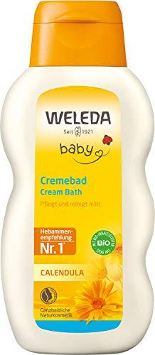 WELEDA Baby Calendula Cremebad, pflegende Naturkosmetik Reinigung für trockene und empfindliche Babyhaut, Pflegebad ohne Tensiden für Babys und Kleinkinder (1 x 200 ml)