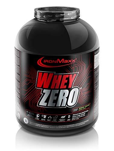 IronMaxx Whey Zero Protein - 2270g Pulver - 45 Portionen - Banane-Joghurt - Molkenprotein mit 97 % Whey Anteil - Zuckerfreies Protein Isolat für den Muskelaufbau - Desgined in Germany