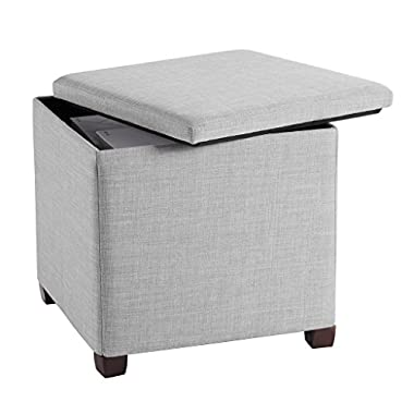 LANGRIA Folding Storage Ottoman with Legs, Premium Linen Ottoman with Pull-off Lid and Legs(17 x 17 x 17 inches, Gray)