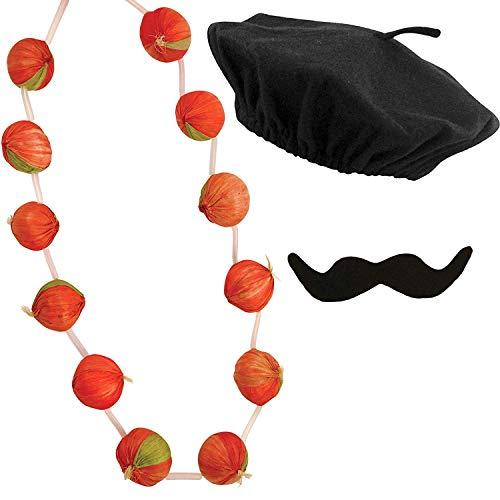 Silver Fancy Dress 3 PC Adult French Costume Kit ,French Mime Set Men's Black Beret Hat, Onion Garland Mustache / Fun Party Theme Fancy Dress