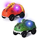 Track Car Replacement Only,LED Light Up Dinosaur Cars Compatible with Most Tracks,Dino Cars Accessories for Race Track Sets(2 Pack)
