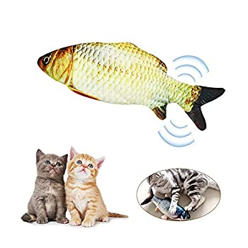 Decdeal Électrique USB Charge Simulation Poisson Chat Jouets à l'herbe à Chat Jouet Drôle Interactif Animaux Chats Cataire Jouets pour Chat Kitty Chaton-Parfait pour Mordre Mâcher Coups de Pied