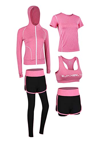 Uni-Wert Damen Sportsuit Set Yoga Lauf Jogging Trainingsanzug Gym Fitness Outfit Trainings Sweatsuit 5 Stück Set, Rosa/Schwarz, L