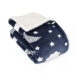 Life Comfort Ultimate Sherpa Baby Blanket, Fluffy Navy Blue Moon Stars Blanket for Baby Girl or Boy, Soft Warm Cozy Toddler, Infant or Newborn Blanket for Crib, Stroller, Travel, Nursery