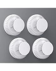 Luxear Zuignap haken set van 4 stuks zonder boren, vacuüm zuignap haken verwijderbaar, zuignappen haken opslag waterdicht voor badkamer keuken huisdeur camper op alle gladde oppervlakken, wit