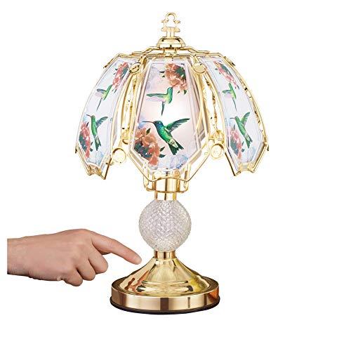 Lámpara de colibrí Touch Base con base dorada y paneles de cristal de colores, decoración de mesa para cualquier habitación en casa