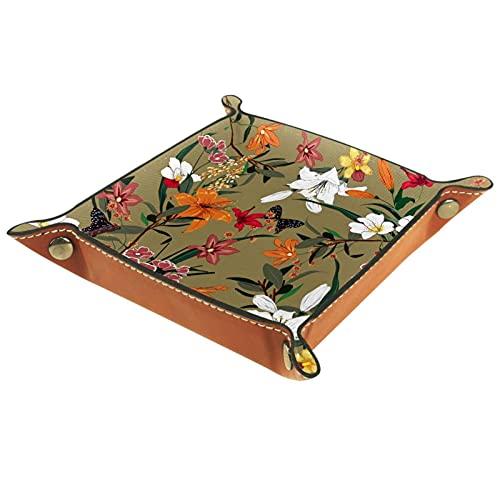 Bandeja de valet de mariposas y flores rojas naranjas, blancas y rojas, bandeja de cuero de poliuretano, bandeja para llaves, bandeja de almacenamiento de escritorio para monedas clave de teléfono