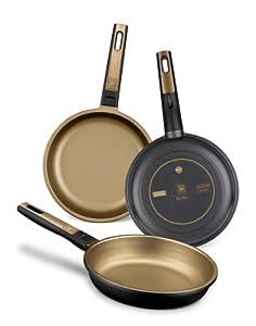 BRA Terra - Set de 3 sartenes, aluminio fundido, aptas para todo tipo de cocinas, incluido inducción y vitrocerámica, aptas para lavavajillas, 18-22-26 cm