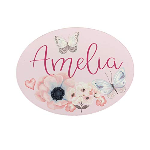 Personalised Kids Bedroom Metal DOOR Plaque Sign, Butterfly Floral gifts for the home