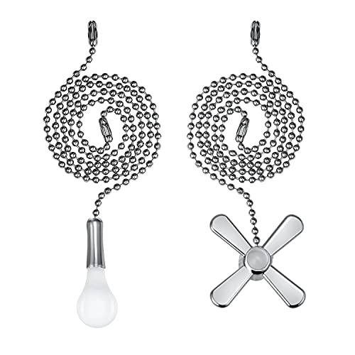 Ceiling Fan Pull Chain, 2pcs 3mm Diameter Beaded Ball Fan Pull Chain, 24 Inches Fan Pulls Set with Connector(Nickel)