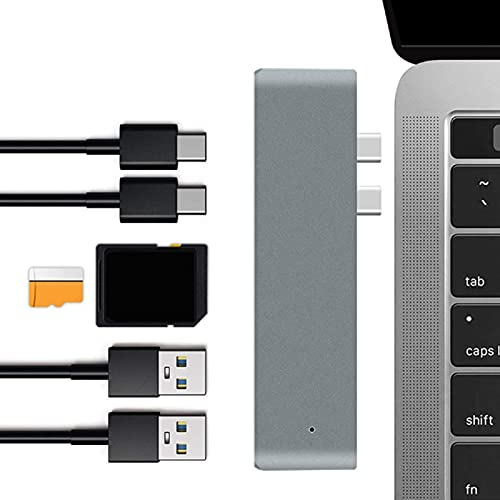 Concentrador USB C, Adaptador USB C 6 en 1 con 2 Puertos USB/ 3 Tipo C/Tarjeta Almacenamiento/Ranura para Tarjeta Memoria, Estación Acoplamiento Concentrador USB C