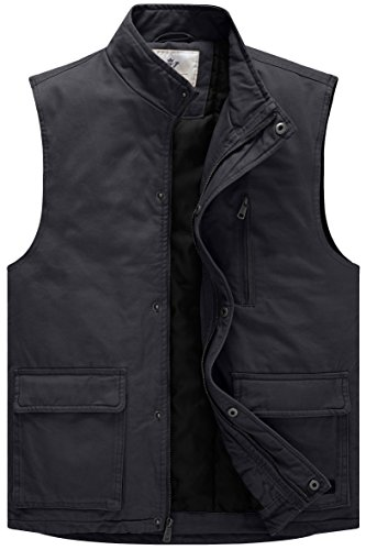 WenVen Men's Utility Military Winter Cotton Vest(Grey,Small)