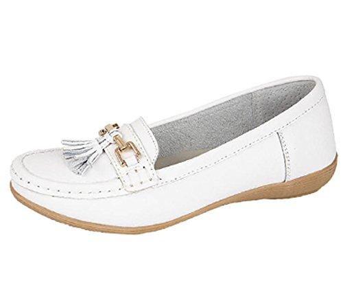Jo & Joe Ladies Leather Loafer Shoes Plimsole Pumps Womens Flat Shoes White Size UK 6 EU 39