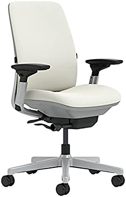 Steelcase Amia Chair with Platinum Base & Standard Carpet Casters, Coconut
