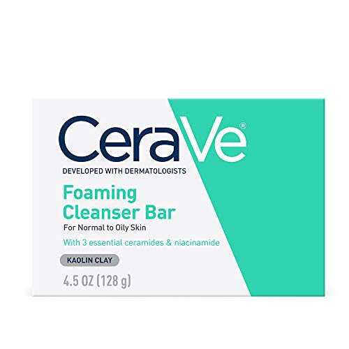 CeraVe Foaming Cleanser Bar | Soap-Free Body and Face Cleanser Bar for Oily Skin | Fragrance Free | 4.5 Ounce