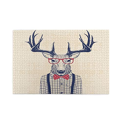 Rompecabezas de 1000 piezas,ciervo disfrazado de nerd con camisa y lazo de jazz,ilustraciones de juegos de rompecabezas familiares grandes para adultos y adolescentes