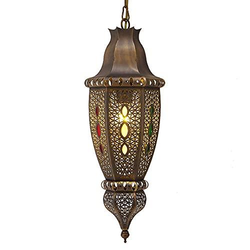 Lámpara de techo marroquí de diseño artesanal marroquí, lámpara colgante marroquí E14, lámpara oriental para salón, cocina o para colgar sobre la mesa del comedor