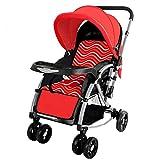 NCSBB Kinderwagen für Neugeborene und Kleinkinder, umwandelbarer Stubenwagen, kompakter Einzel-Kindersitz Kinderwagen rot