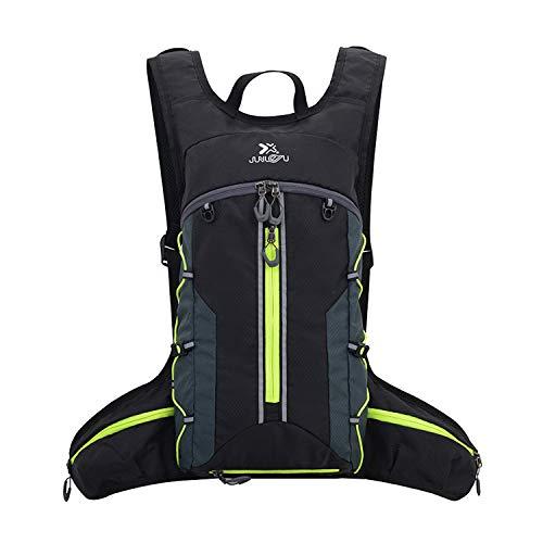 BWBIKE Fahrradrucksack, wasserdicht, faltbar, atmungsaktiv, leicht, für Outdoor-Sport, Reisen, Bergsteigen, 18 l, Unisex, Schwarz Grün 18L, Einheitsgröße