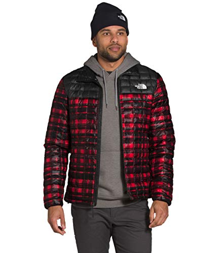The North Face Men's Thermoball Eco Insulated Jacket - Fall or Winter Coat, TNF Red Distorted Plaid Print/TNF Black, L
