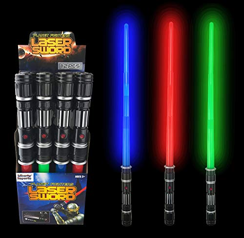 12 Pack LED Space Swords Expandable Light Up Sabers Toys with Motion Sensitive FX Sound Effects (Bulk)