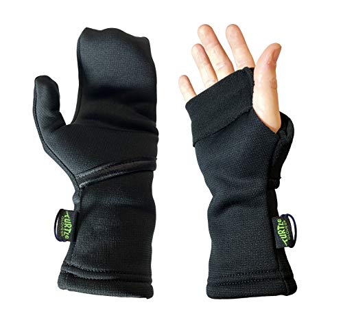 Turtle Gloves Midweight Convertible Hardface Running Mittens for Winter - Size S