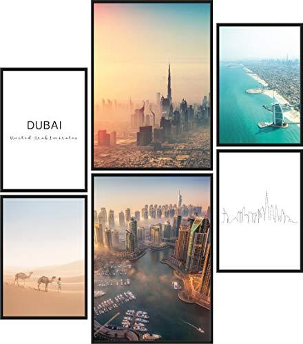 quadri moderni soggiorno dubai Papierschmiede® Mood-Poster Set Dubai   Quadri Moderni per Soggiorno e Camera da Letto   2X DIN A3 e 4X DIN A4   Emirati Arabi Skyline - Senza Cornice