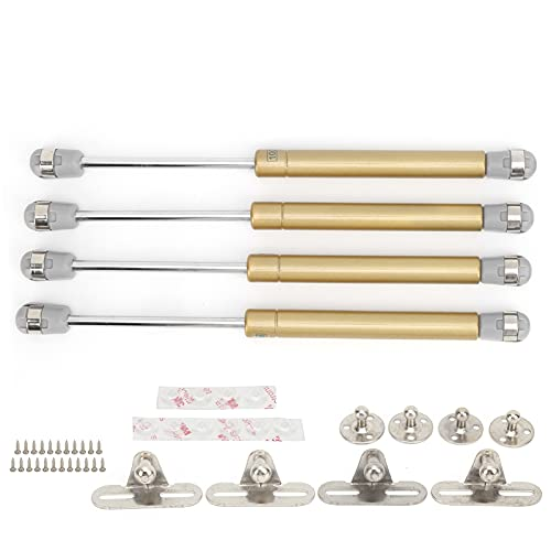 Qiilu 4PCS Amortiguadores de resorte de gas Soportes de elevación Soportes Silence Pad 100N / 22.5lb Steel para RV Trailer(dorado)