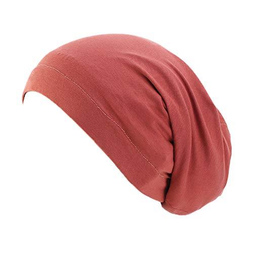 Vobony - Gorro turbante para mujer de algodón con diseño de flor, para la cabeza y la pérdida de cabello rojo Talla única