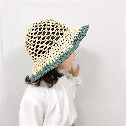 Vbtsqp Circunferencia de la Cabeza 50~53 cm, Grandes Bordes Huecos de Colores, Sombrero de Paja para niños, Hombres y Mujeres viajan, sombrilla, Transpirable, Sombrero para el Sol, Sombrero de Playa