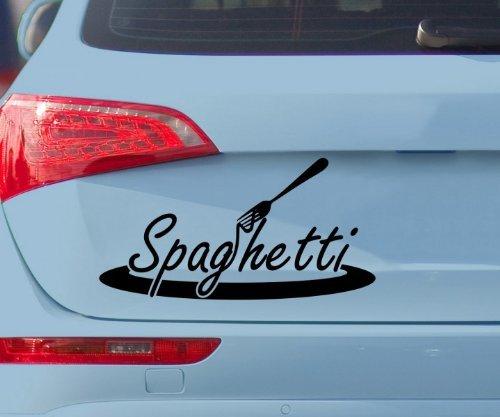Auto Aufkleber Spaghetti Nudeln Gabel Dekoration Teller Tattoo Sticker 5Q760, Farbe:Rot Matt;Breite vom Motiv:55cm