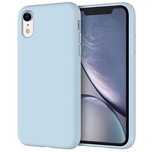JETech Funda de Silicona Compatible iPhone XR, 6,1', Sedoso-Tacto Suave, Cubierta a Prueba de Golpes con Forro de Microfibra, Azul Claro