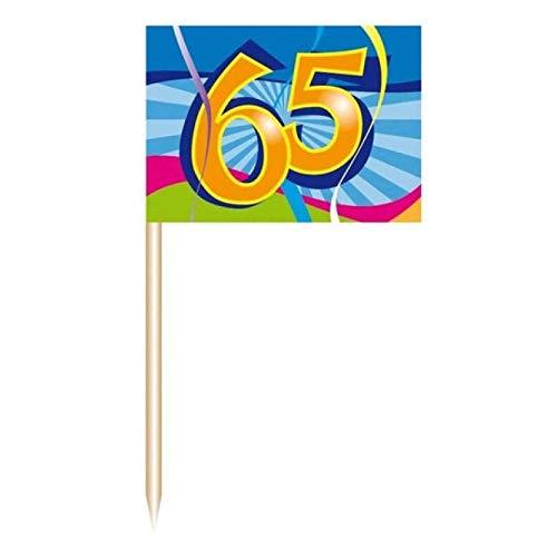 50x Partyspießer Fahne Deko-Picker Geburtstag Zahl 65