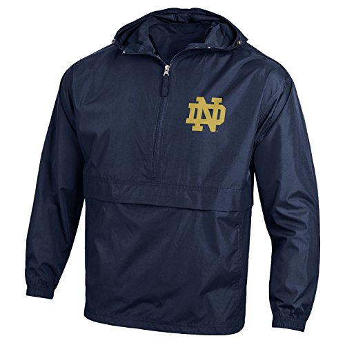 Champion NCAA Mens Half Zip Front Pocket Packable Jacket Notre Dame Fighting Irish X-Large