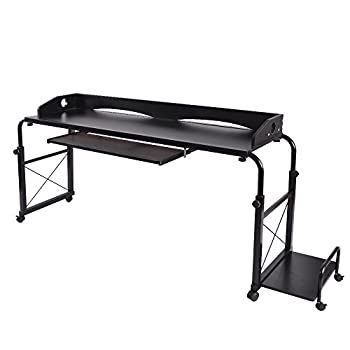 sogesfurniture Overbed Table with Wheels,Height and Length Adjustable Mobile Table 47 inches Works as Laptop Cart Computer Table Bed Table,Black BHUS-203-2-120BK