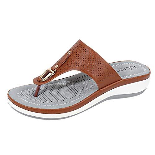 KERULA Sandalen Damen, Comfort Hausschuhe Flip Flop Wedges Slip on Komfort Damenschuhe Slipper Shoes Strandschuhe Sandaletten Freizeitschuhe Schuhe