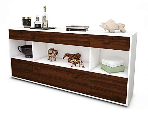 Stil.Zeit Sideboard Fabiana/Korpus Weiss matt/Front Holz-Design Walnuss (180x79x35cm) Push-to-Open Technik & Leichtlaufschienen