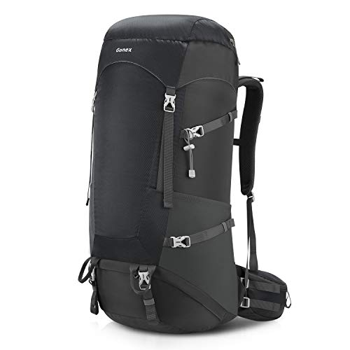 Gonex 65L/75L Internal Frame Hiking Backpack with Rain Cover Gray